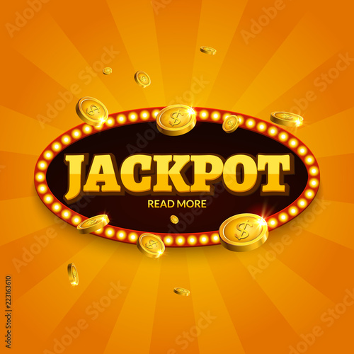 фотография  Jackpot gambling retro banner decoration