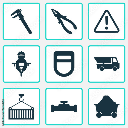 Industry icons set with man with drill, calipers, truck and other workman  elements. Isolated vector illustration industry icons. Wall mural