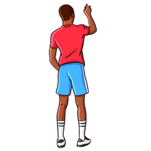 Hand Drawn Old School Hip Hop Boy In Retro Look In Shorts Spraying On A Wall With A Spray Can. African American, Comic, Vector, Eighties, Wildstyle, Grafitty,