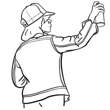 Hand Drawn Old School Hip Hop Girl In A Retro Look With A Denim Jacket Spraying The Wall With A Spray Can. Black, White, Outline, Comic, Vector, Eighties, Wildstyle