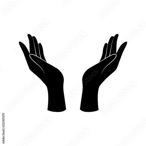 Support, care, beauty hand gesture. Vector icon. Fototapet