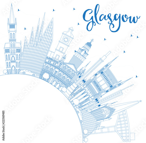 Staande foto Schilderingen Outline Glasgow Scotland City Skyline with Blue Buildings and Copy Space.