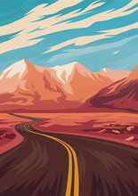 Travel Illustration With Road In Mountains. Vector Illustration.