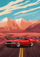 Retro American Muscle Car Post...