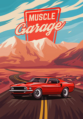 Retro american muscle car p...