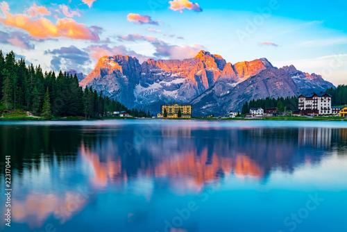Fotografie, Obraz  View of lake Misurina at Cortina d'Ampezzo in the morning