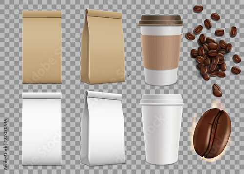 Set of blank package with coffee beans and paper mugs. Isolated