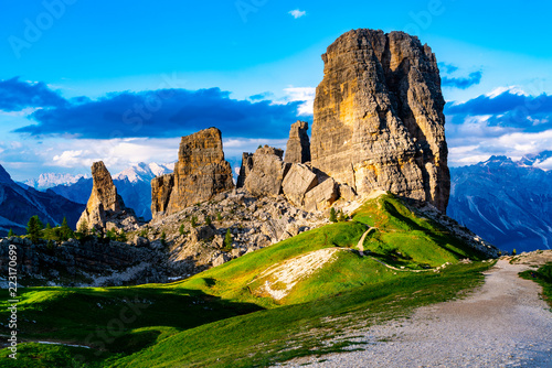 Photo View of the Cinque Torri in Nuvolao Group of the Italian Dolomites