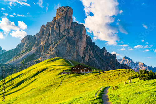 Fotografie, Tablou  View of Italian Dolomites mountain at the Giau Pass in the evening