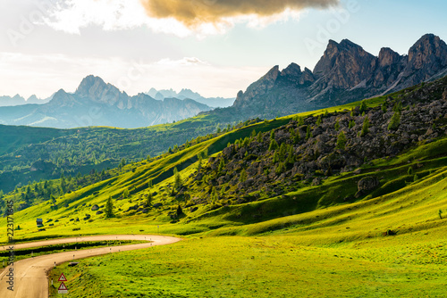Landscape of the mountains at the Giau Pass in Italy
