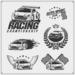 Set of Racing club emblems, labels and design elements. Speeding racing cars illustrations.