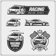 Set of Racing club emblems, labels and design elements. Speeding racing cars illustrations.