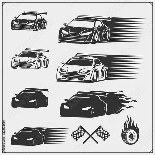 Fotografiet  Set of speeding racing cars. Vector illustration.