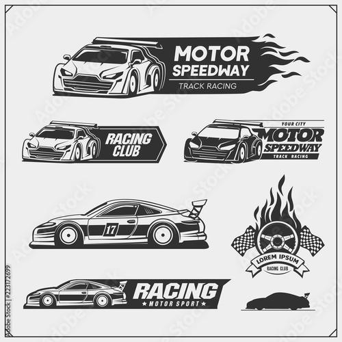 Fotografiet  Set of Racing club emblems, labels and design elements