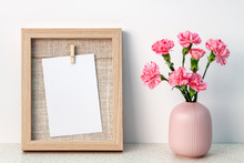 Terrazzo Desk With Wooden Frame Mockup And Pink Carnations In A Notched Vase