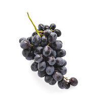 Black Grapes Isolated On White...
