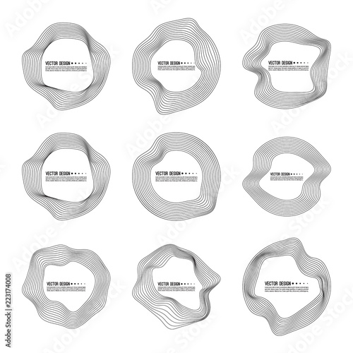 Vector set of deformed circle banners Slika na platnu