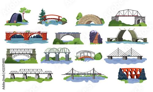 Fotografia Bridge vector bridged urban crossover architecture and bridge-construction for t