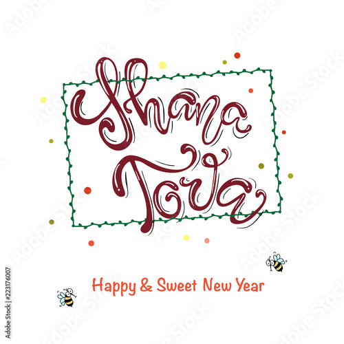 Fotografia  A greeting card with stylish lettering Shana Tova
