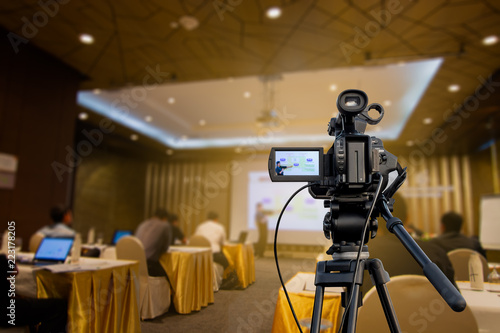 video camera recording presentations in the seminar room