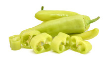 Yellow Banana Peppers And Slice On White Background.