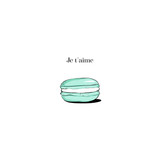 Hand drawn Sketch Cake macaron, macaroon isolated on white background. turquoise je teme Love macaron, macaroon biscuits, sweet and beautiful dessert. Fashion French pastry macarons - 223181065