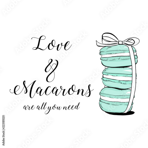 Door stickers Macarons Vector colorful cute macaroons and hand drawn quote text