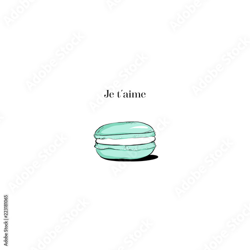 Foto op Plexiglas Macarons Hand drawn Sketch Cake macaron, macaroon isolated on white background. turquoise je teme Love macaron, macaroon biscuits, sweet and beautiful dessert. Fashion French pastry macarons
