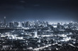 dark night cityscape with light tail speed line in metropolis