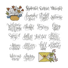 Cozy Fall Vector Lettering Set.