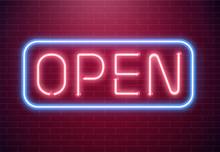 Bar Open Light Neon Sign. Night Store Red Glowing Letters . Open 24 Hours Sign