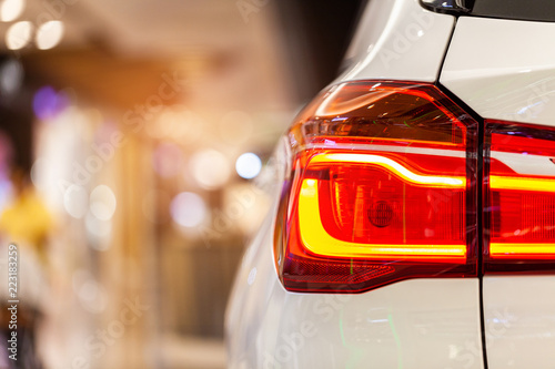 Photo  Rayong,Thailand - September 11, 2018: Rear light of BMW ,showed