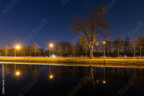 Beautiful tranquil nightscape with car lights reflected in the canal at night with streetlights and a tree