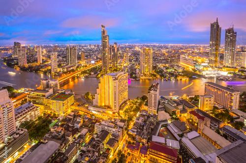 Poster Stad gebouw Aerial Bangkok Citysacpe And Chao Phraya River Of Bangkok, Thailand