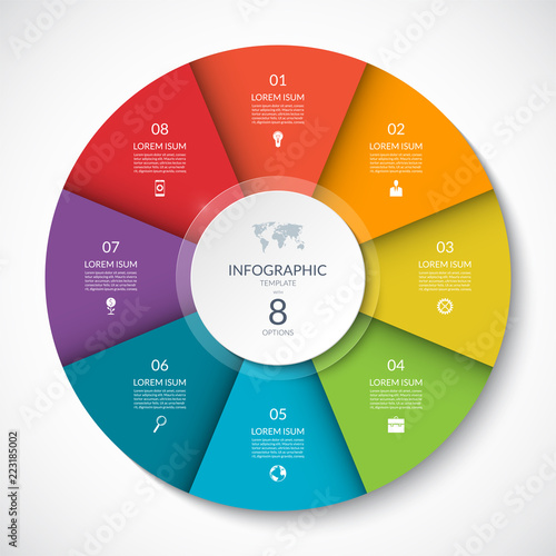 Vector infographic circle. Cycle diagram with 8 options. Can be used for chart, graph, report, presentation, web design. Wall mural