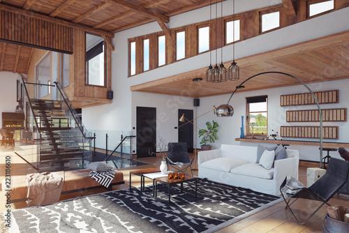 Modern chalet interior d rendering design concept stock photo