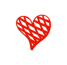 Vector Doodle Hand Drawn Heart, Checkered Coloring Icon Isolated On White Background.