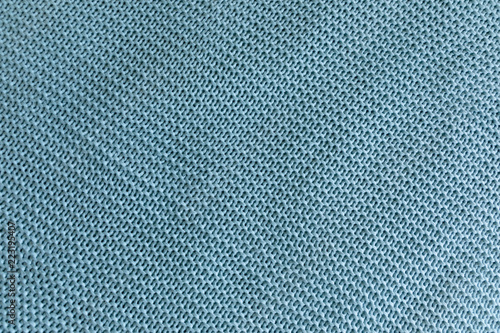 Foto  Handmade blue knitting wool texture background, knitted blanket
