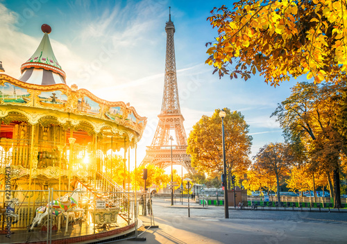 Valokuvatapetti Eiffel Tower with merry go round from Trocadero at fall sunrise, Paris, France,