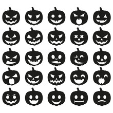 Big Set Black Pumpkin On White Background. The Main Symbol Of The Happy Halloween Holiday. Black Pumpkin With Smile For Your Design For The Holiday Halloween. Vector Illustration.