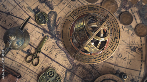 Obraz Sundial With A Zodiac Sign - fototapety do salonu