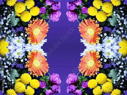 Fotobehang Bloemen flower arrangement of orange white pink yellow flowers