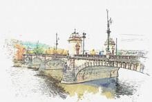 Illustration Bridge Over The Vltava River In Prague, Czech Republic