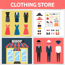 Flat Clothing Shop Square Concept