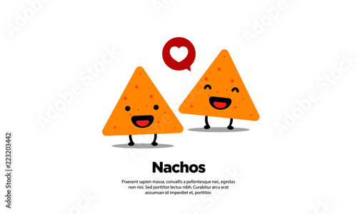 Fotografía Nachos Logo Vector Illustration