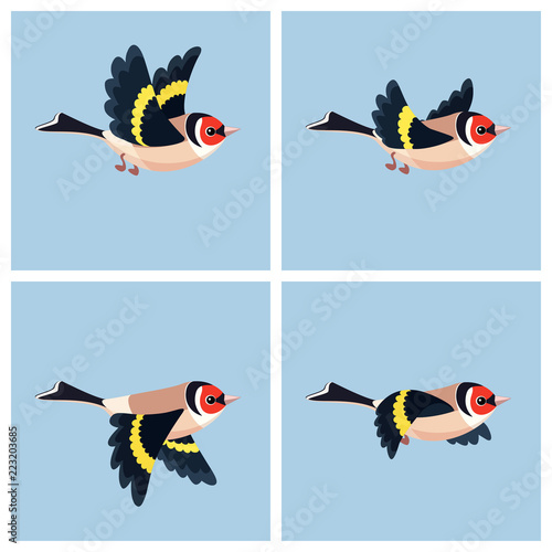 Stampa su Tela Flying European Goldfinch animation sprite sheet