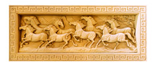 Carved Thai Horse On The Wood Frame