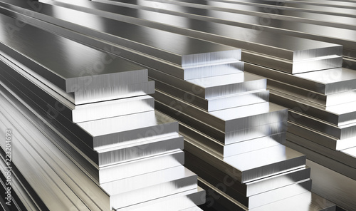 Fotografie, Obraz  Warehouse of aluminum plates