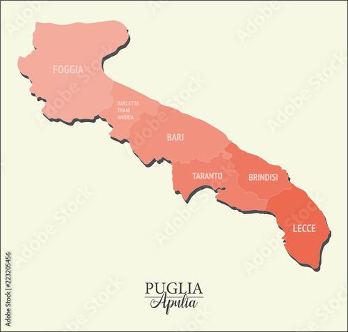Apulia vector map, divided into provinces Wallpaper Mural