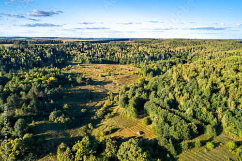 Staande foto Asia land Typical aerial landscape of the Central Russian Upland. Bolshoe Gorodkovo village, Kursk region